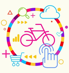 Bicycle on abstract colorful geometric light vector