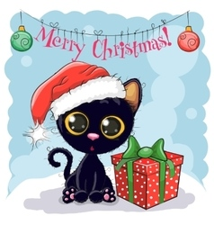 Black Cat in a Santa hat vector