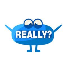 Blue blob asking really cute emoji character vector