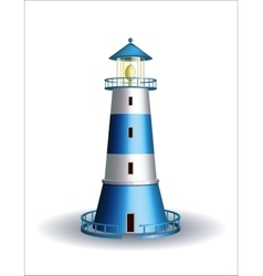 Blue lighthouse isolated on white vector image