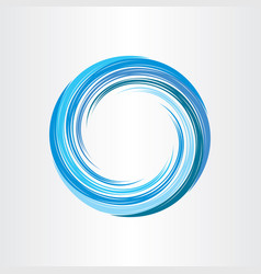 Blue wave circle symbol water flow design element vector