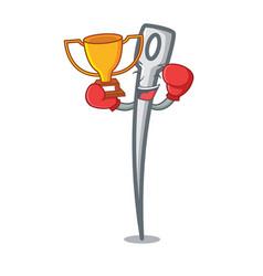 Boxing winner needle mascot cartoon style vector