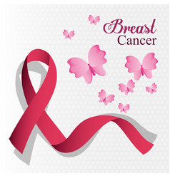Breast cancer ribbon and butterfly card vector