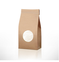 brown craft paper rice bag packaging with vector image