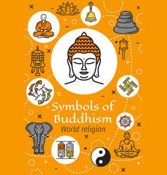 Buddha buddhism religion and yoga symbols vector