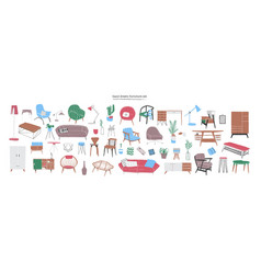 Bundle of stylish and comfy modern furniture vector
