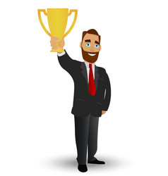 businessman holding a gold cup symbolizing vector image