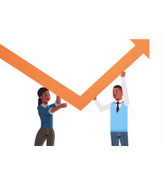 businesspeople couple holding upward arrow vector image