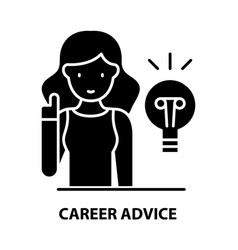 Career advice icon black sign with vector