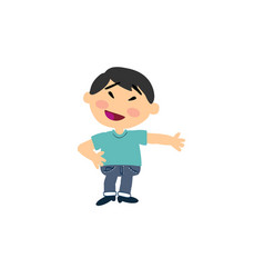 cartoon character asian boy showing vector image