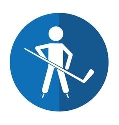 Character hockey player skating shadow vector