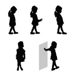 child silhouette happy set vector image