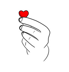 close-up hand holding red paper heart vector image
