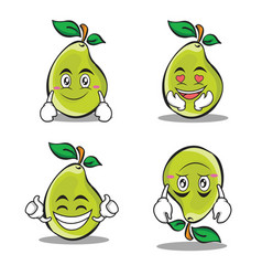 Collection pear character cartoon set vector