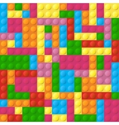 Colored plastic bricks seamless pattern vector image