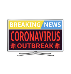 Coronavirus covid-19 breaking news on smart tv vector