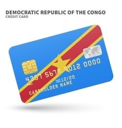 Credit card with democratic republic congo vector
