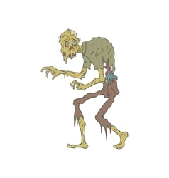 Creepy Zombie With Melting Skin Outlined Drawing vector