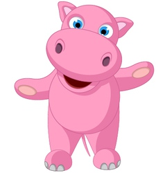 Cute baby hippo cartoon standing vector