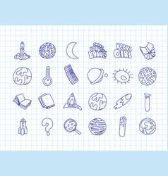 cute cartoon icons on science school study theme vector image