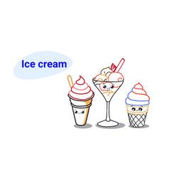 cute ice cream with stick in sundae dish cartoon vector image
