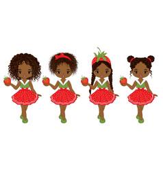 Cute little african american girls vector