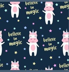 cute unicorn and magic seamless pattern vector image