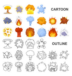 different explosions cartoon icons in set vector image