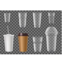 Disposable plastic cups for fast food drink mockup vector