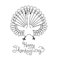 Doodle thanksgiving turkey freehand drawing vector