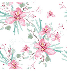 eucalyptus and pink orchid flowers seamless vector image