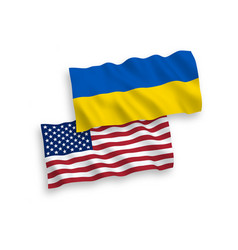 flags of ukraine and america on a white background vector image