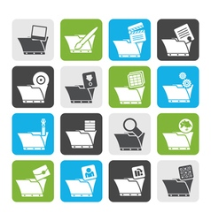 Flat Computer and Phone Icons - Folders vector image