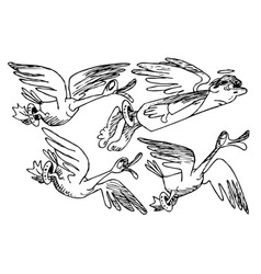 flock of birds with an angel vector image
