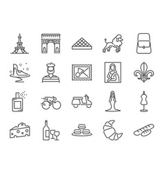 France travel icon set vector