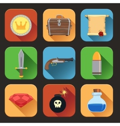 Game resources icons flat vector image