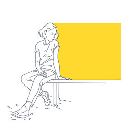 girl is sitting on a bench a template vector image