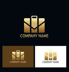 gold suitcase business logo vector image