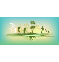 Green blot golf club Silhouettes vector