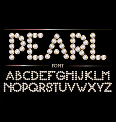 Hand drawn font pearls with golden frame made vector