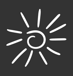 hand drawn sun icon isolated on black background vector image