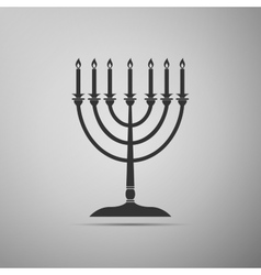Hanukkah menorah icon on grey background vector