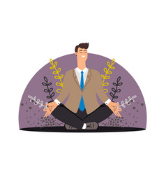 happy business man meditation concept vector image