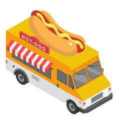 Hot dog truck icon isometric style vector