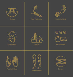 icon set medical prostheses vector image