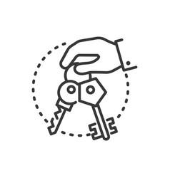 keys - line design single isolated icon vector image