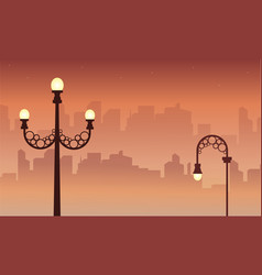 Landscape of street lamp with town background vector