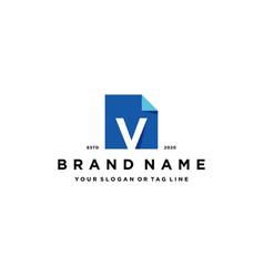 Letter v document logo design vector