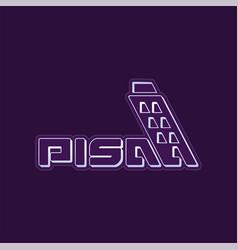 Logo leaning tower pisa historical monument vector