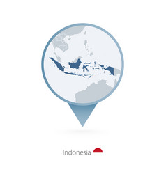 Map pin with detailed indonesia vector